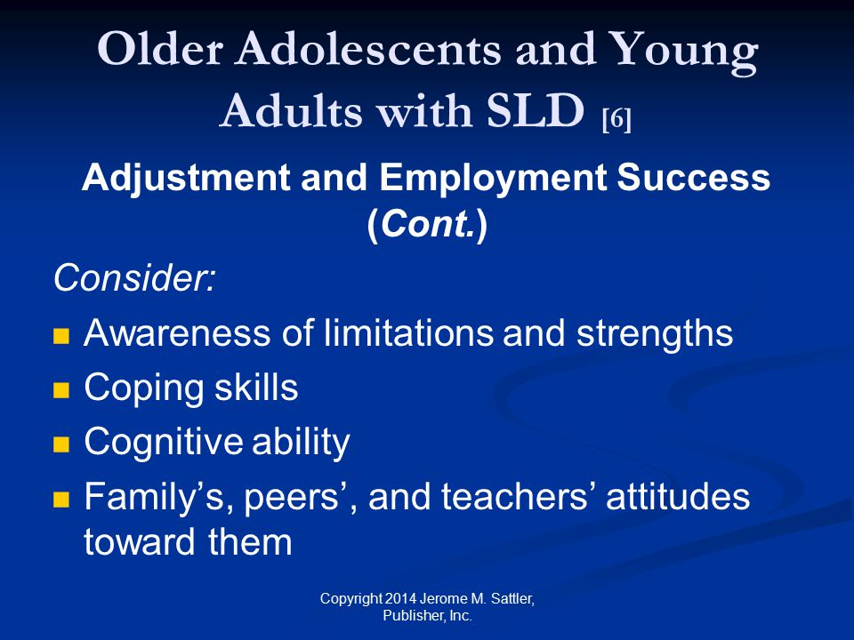 Older Adolescents and Young Adults with SLD [6]